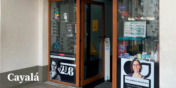 Fachada de óptica visus en ciudad cayalá guatemala